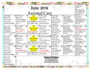 Cambridge Assisted Living June Activity Calendar
