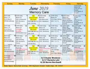 Cambridge Memory Care June Activity Calendar