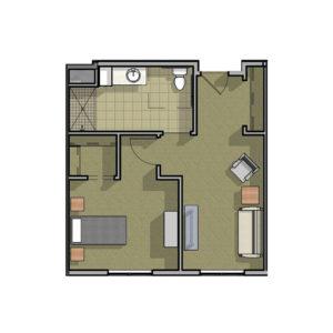 Cambridge Deluxe One Bedroom Floor Plan