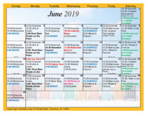 Columbus Assisted Living June 2019 Activity Calendar