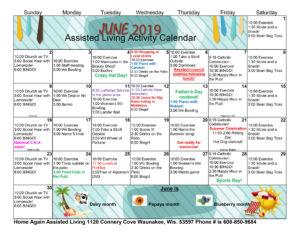 Waunakee Assisted Living June 2019 Activity Calendar
