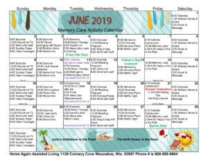 Waunakee Memory Care June 2019 Activity Calendar