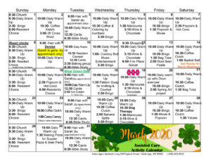 Cambridge Assisted Living March 2020 Activity Calendar