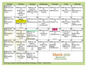 Cambridge Memory Care March 2020 Activity Calendar