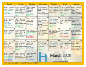 Columbus Assisted Living March 2020 Activity Calendar