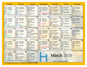 Columbus Memory Care March 2020 Activity Calendar