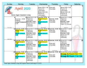 Cambridge April 2020 Activity Calendar