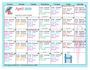 Columbus Assisted Living April Activity Calendar