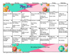 Cambridge Activity Calendar May 2020