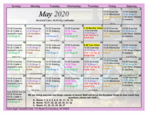 Columbus Assisted Living May 2020 Activity Calendar