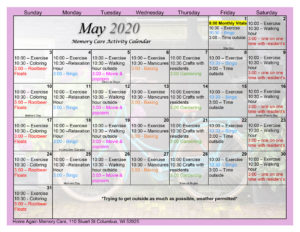 Columbus Memory Care May 2020 Activity Calendar