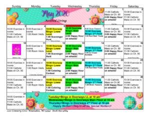 Waunakee Assisted Living May 2020 Activity Calendar