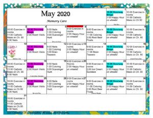 Waunakee Memory Care May 2020 Activity Calendar