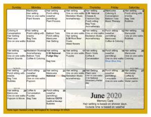 Cambridge Memory Care June Activity Calendar