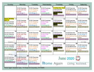 Columbus Assisted Living June Activity Calendar