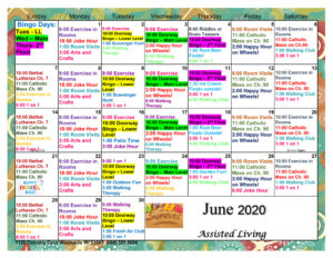 Waunakee Assisted Living June Activity Calendar