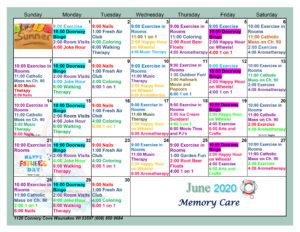 Waunakee Memory Care June Activity Calendar