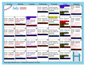 Columbus Memory Care July Activity Calendar