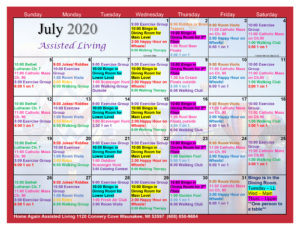 Waunakee Assisted Living Calendar