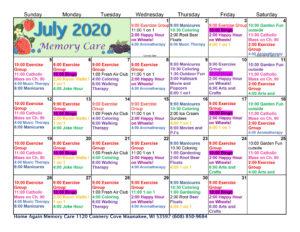 Waunakee Memory Care Calendar