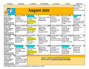 Cambridge Assisted Living August 2020 Activity Calendar