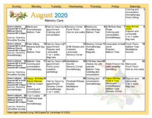 Cambridge Memory Care August 2020 Activity Calendar