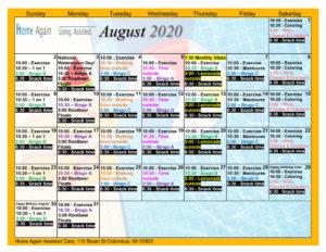 Columbus Assisted Living August 2020 Activity Calendar