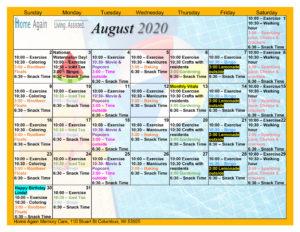 Columbus Memory Care August 2020 Activity Calendar