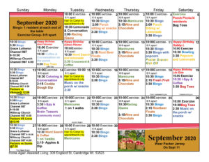 Cambridge Assited Living September 2020 Activity Calendar