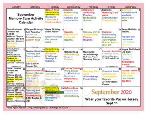 Cambridge Memory Care September 2020 Activity Calendar