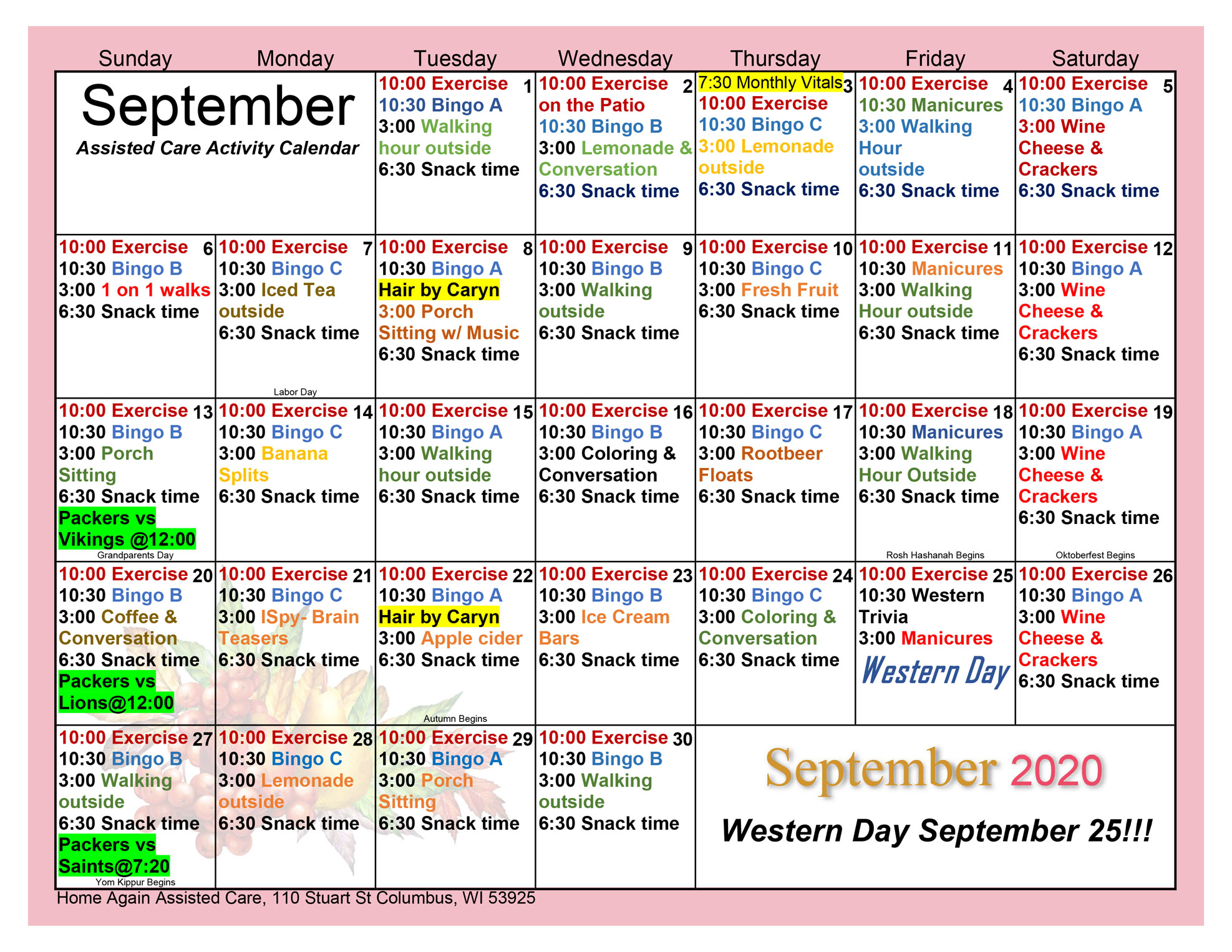 Columbus Assisted Living September 2020 Activity Calendar