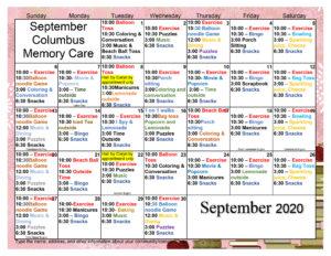 Columbus Memory Care September 2020 Activity Calendar