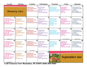 Waunakee Memory Care September 2020 Activity Calendar
