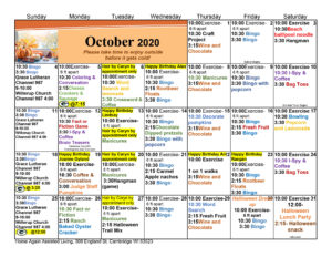 Cambridge Assisted Living October Activity Calendar
