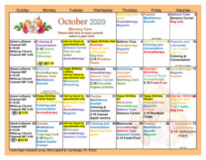 Cambridge Memory Care October Activity Calendar