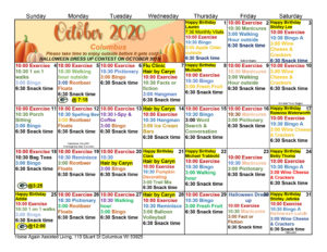 Columbus Assisted Living October Activity Calendar