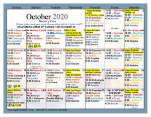 Columbus Memory Care October Activity Calendar