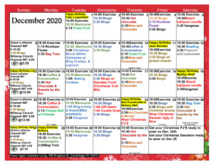Cambridge Assisted Living Activity Calendar Dec 2020