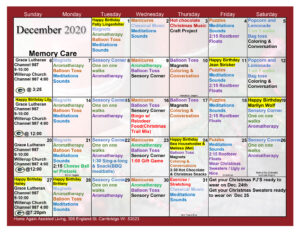 Cambridge Memory Care Decemer Activity Calendar