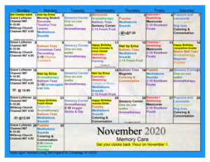Cambridge Memory Care December Activity Calendar