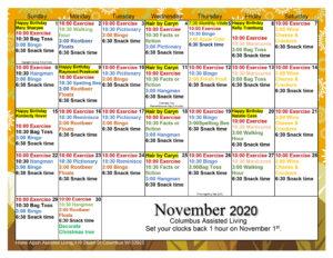 Columbus Assisted Living November Activity Calendar