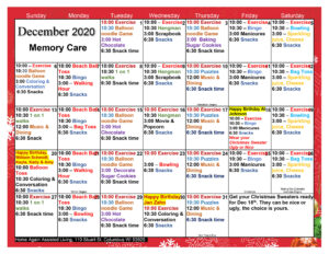 Columbus Memory Care December Activity Calendar