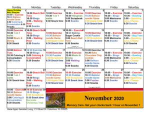 Columbus Memory Care November Activity Calendar