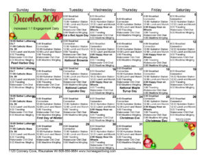 Waunakee Activity Calendar Dec 2020