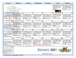 Waunakee Memory Care Activity Calendar February 2021