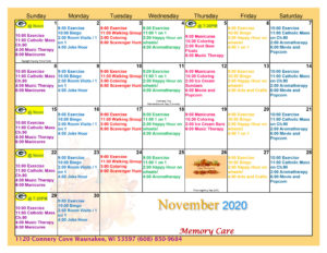 Waunakee Memory Care November Activity Calendar