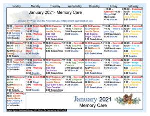 Columbus Memory Care February Activity Calendar