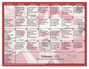 Cambridge Assisted Living Activity Calendar February 2021