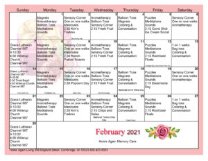 Cambridge Memory Care Activity Calendar February 2021
