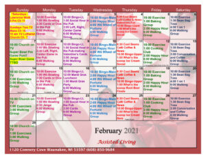 Waunakee Assisted Living Activity Calendar February 2021